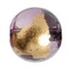 Glass Bead Round 14mm 8'' Strand Purple/Gold